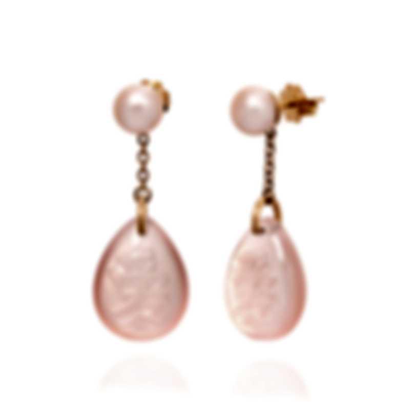 "Mimi Milano Ideogrammi ""Love"" 18k Rose Gold And Quartz Earrings O155RQ3-B"