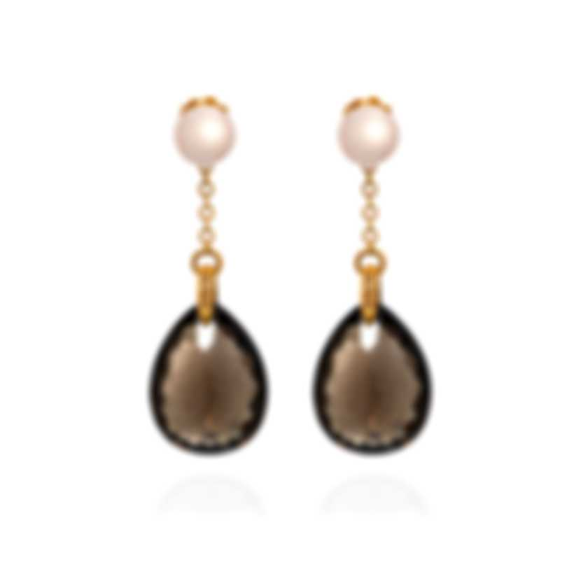 Mimi Milano Jasmine 18k Rose Gold Diamond 0.08ct And Pearl Earrings O164R3FM