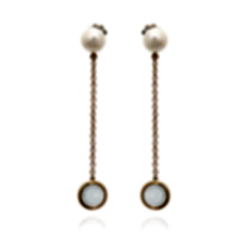 Mimi Milano EN 18k Rose Gold And Sterling Silver And Pearl Earrings O172R1J
