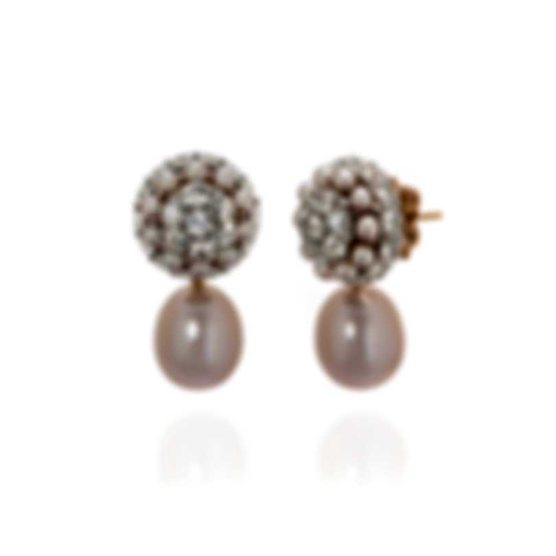 Mimi Milano Garbo 18k White & Rose Gold And Sapphire Earrings O242B1Z-B