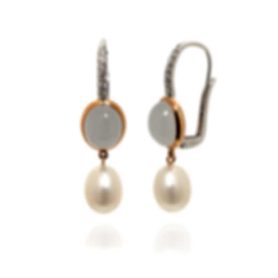 Mimi Milano Leela 18k White & Yellow Gold Diamond & Pearl Earrings O299C1QLB