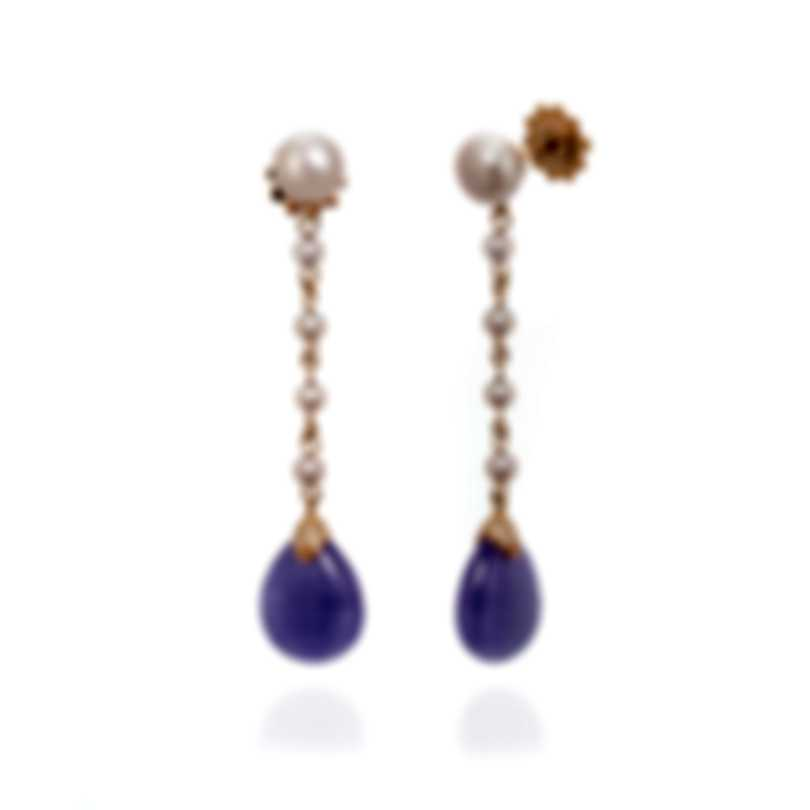 Mimi Milano Elizabeth 18k Rose Gold Diamond 0.14ct And Jade Earrings O220R3LB