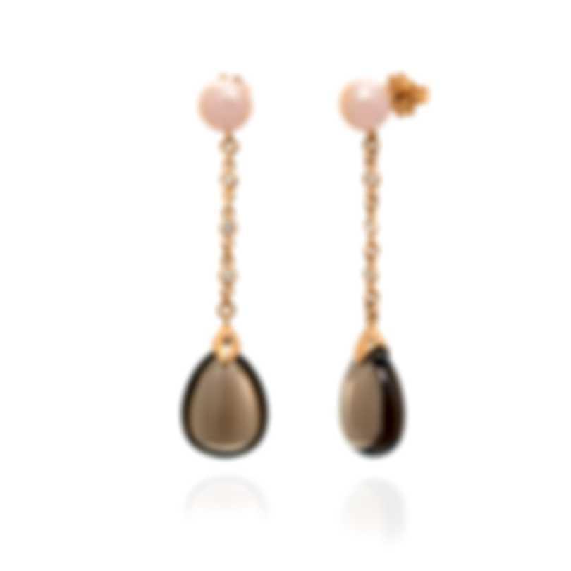 Mimi Milano Elizabeth 18k Rose Gold Diamond 0.12ct And Quartz Earrings O221R3FB