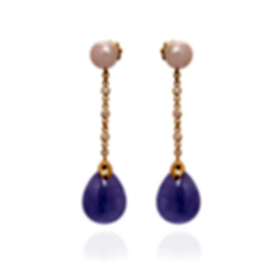 Mimi Milano Elizabeth 18k Rose Gold Diamond 0.12ct And Jade Earrings O221R3LB