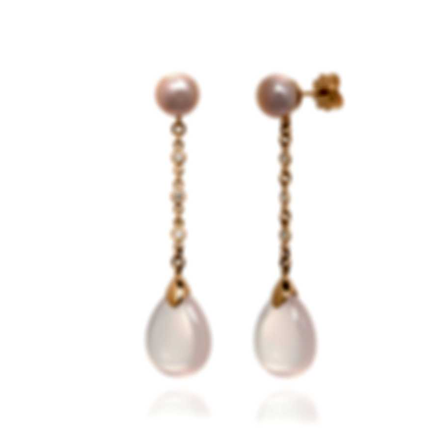 Mimi Milano Elizabeth 18k Rose Gold Diamond 0.12ct And Quartz Earrings O221R3QB