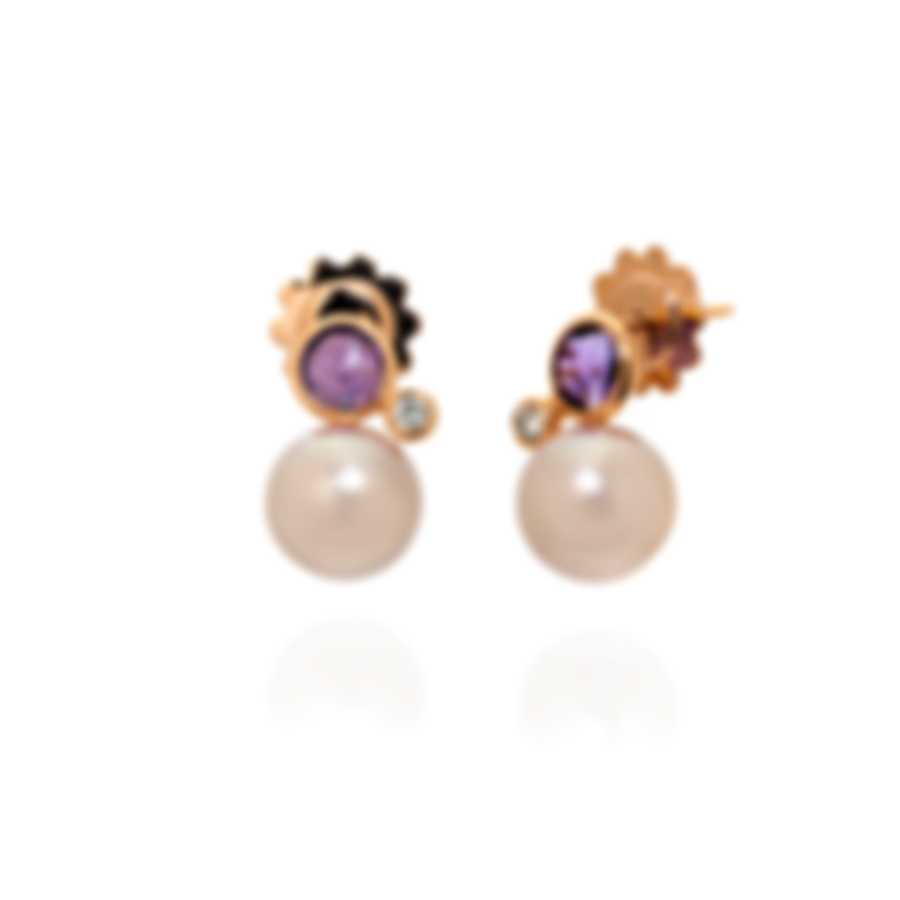 Mimi Milano EN 18k Rose Gold Diamond 0.1ct And Amethyst Earrings O236R3AB