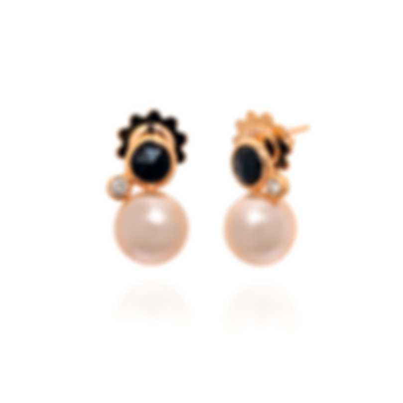 Mimi Milano EN 18k Rose Gold Diamond 0.1ct And Agate Earrings O236R3OB