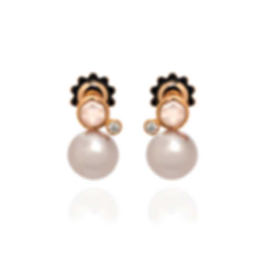 Mimi Milano EN 18k Rose Gold Diamond 0.1ct And Quartz Earrings O236R3QB