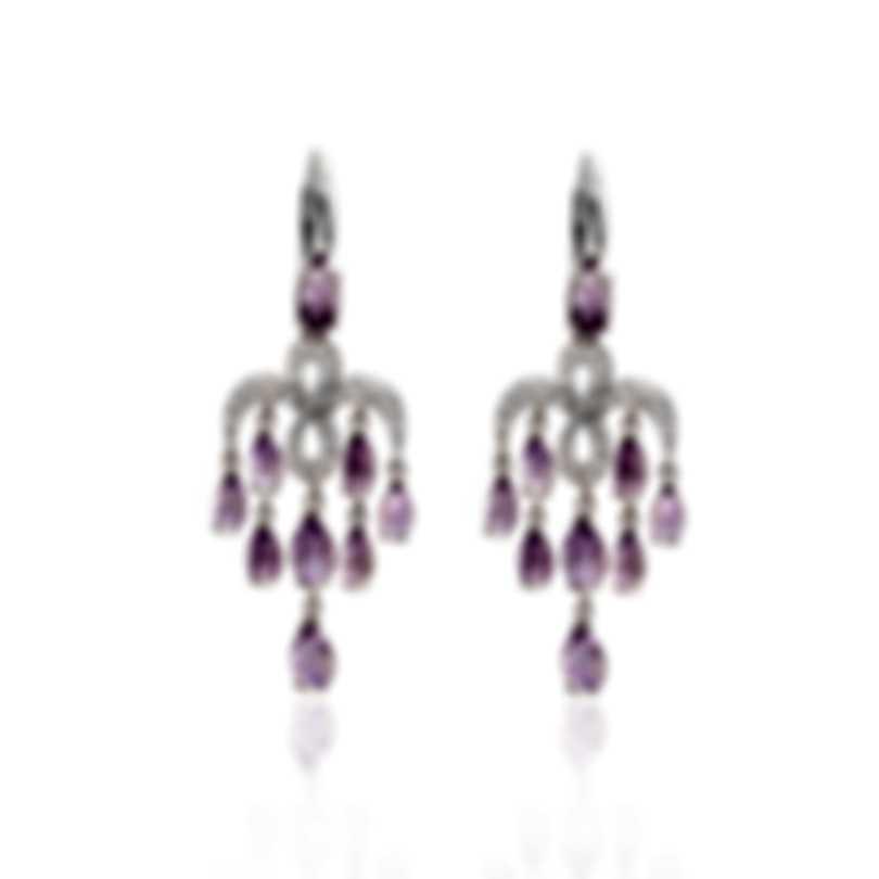Mimi Milano Angie 18k White Gold Diamond 0.75ct And Amethyst Earrings O383B8AB