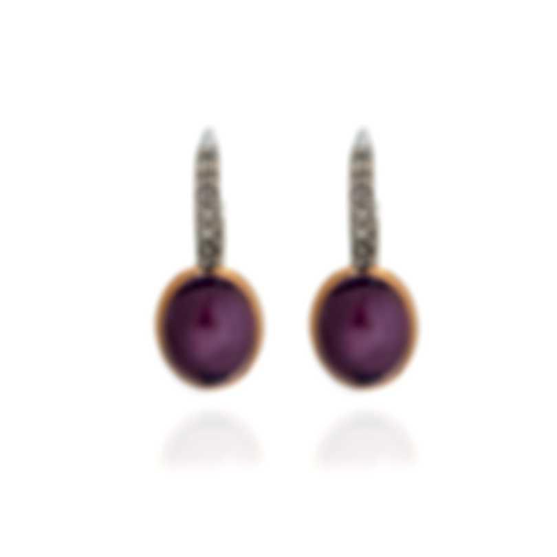 Mimi Milano Leela 18k White & Rose Gold Diamond & Amethyst Earrings O300C8AB