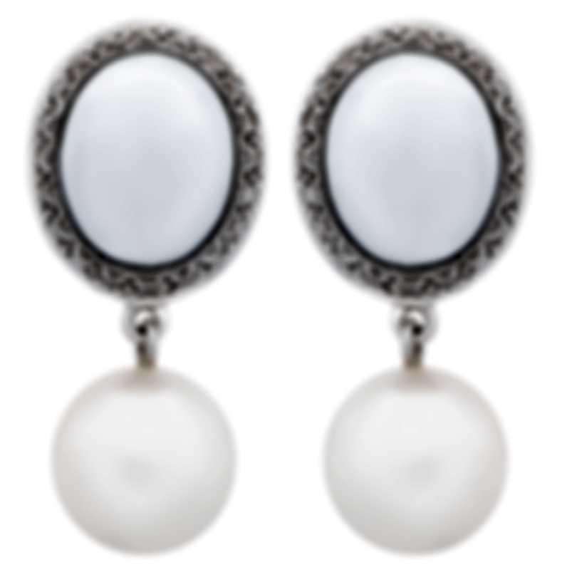 Mimi Milano 18k Rose & White Gold Diamond And White Agate Earrings O319C1A1B