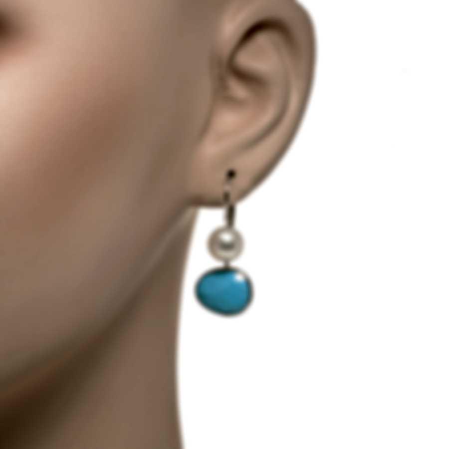 Mimi Milano Talita 18k White Gold And Turquoise Earrings O329B319