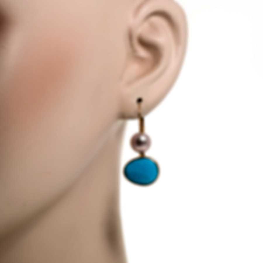 Mimi Milano Talita 18k Rose Gold And Turquoise Earrings O329R319