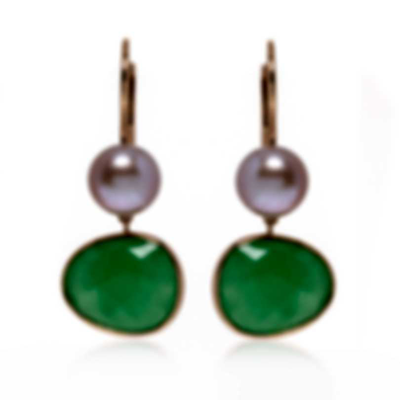 Mimi Milano Talita 18k Rose Gold And Green Jade Earrings O329R3G