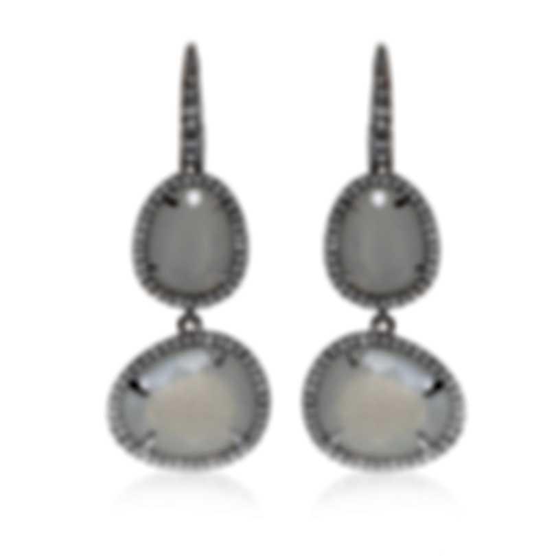 Mimi Milano Talita 18k White Gold Diamond 0.68ct Moonstone Earrings O330B8MSB