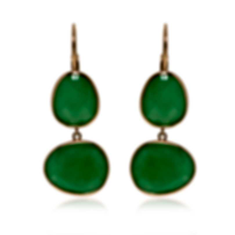 Mimi Milano Talita 18k Rose Gold And Green Jade Earrings O330R8G