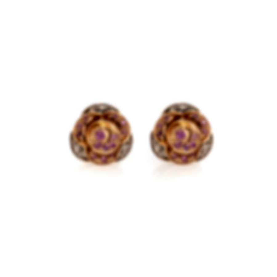 Mimi Milano Rose 18k White & Rose Gold Diamond & Sapphire Earrings O449C8BZ2