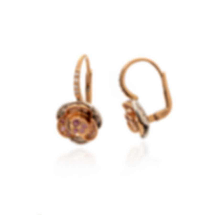 Mimi Milano Rose 18k Rose Gold Diamond 0.22ct And Sapphire Earrings O449C8BZ2