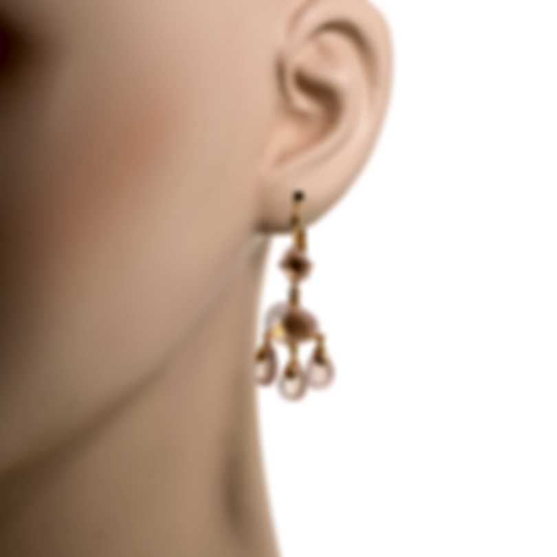 Mimi Milano Mila 18k Rose Gold Diamond 0.08ct And Pink Quartz Earrings O570R8QB