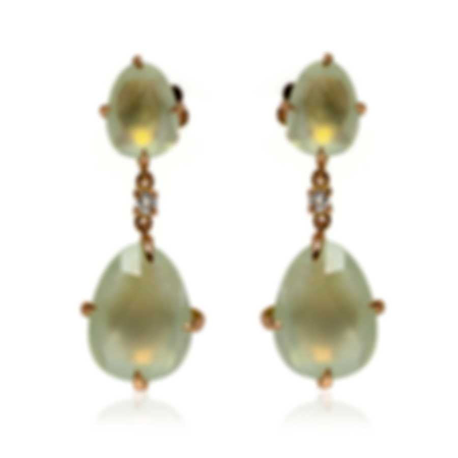 Mimi Milano Mila 18k Rose Gold Diamond 0.08ct And Prehnite Earrings O571R8D7B