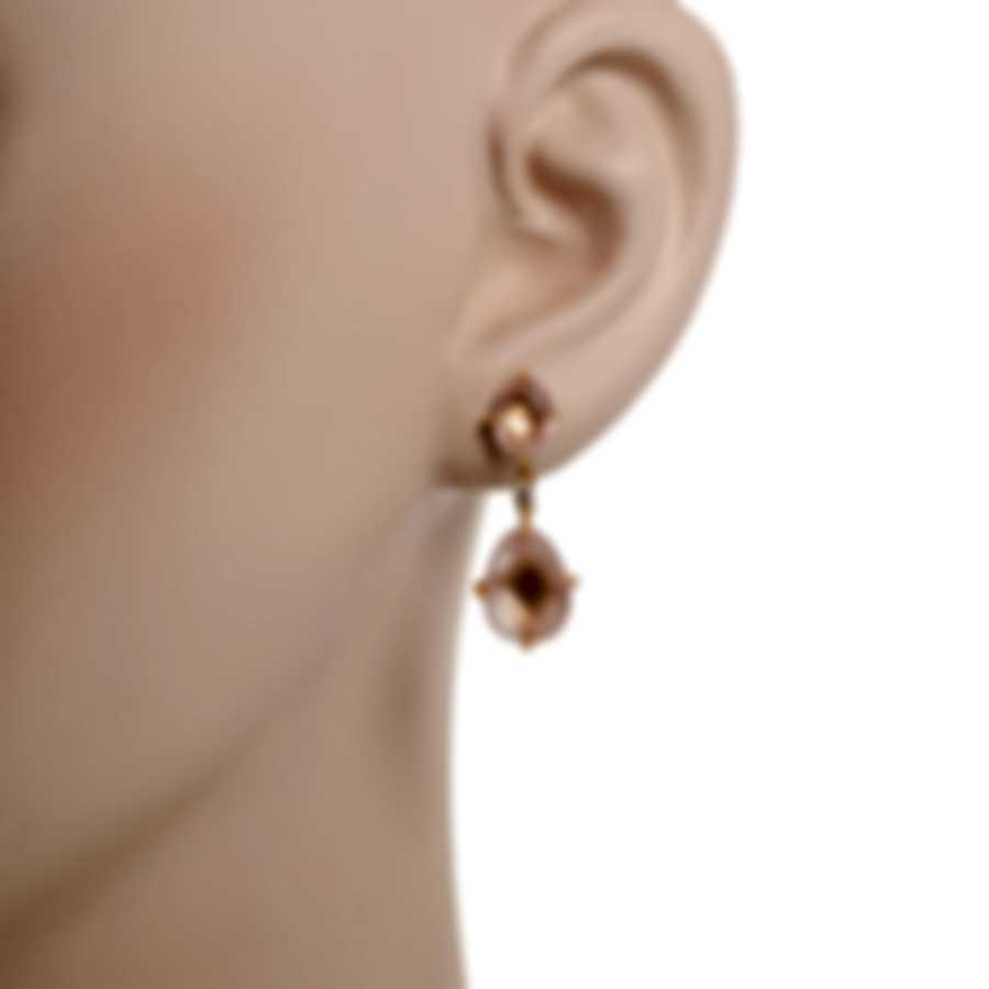 Mimi Milano Mila 18k Rose Gold Diamond 0.08ct And Pink Quartz Earrings O571R8QB