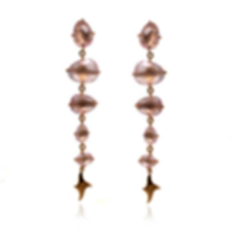 Mimi Milano Mila 18k Rose Gold And Pink Quartz Earrings O572R8Q