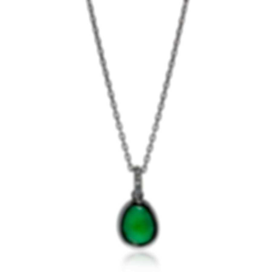 Mimi Milano Talita 18k White Gold Diamond .18ct And Green Jade Necklace P329B8GB