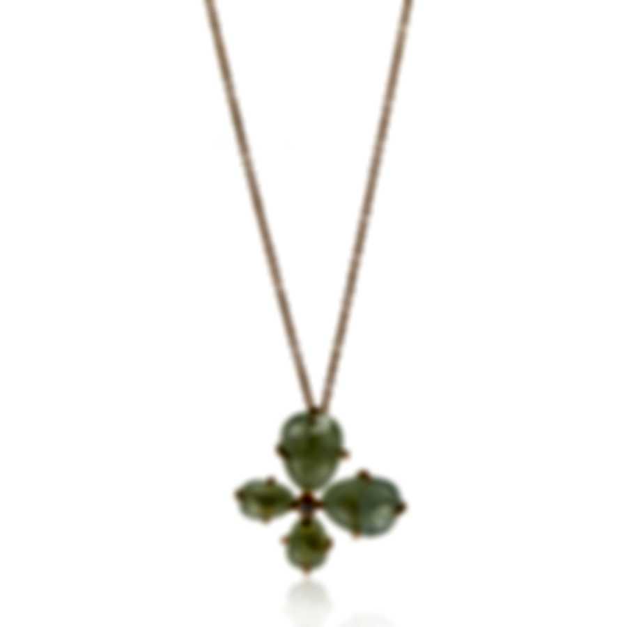 Mimi Milano Mila 18k Rose Gold Diamond 0.04ct And Prehnite Necklace P577R8D7B