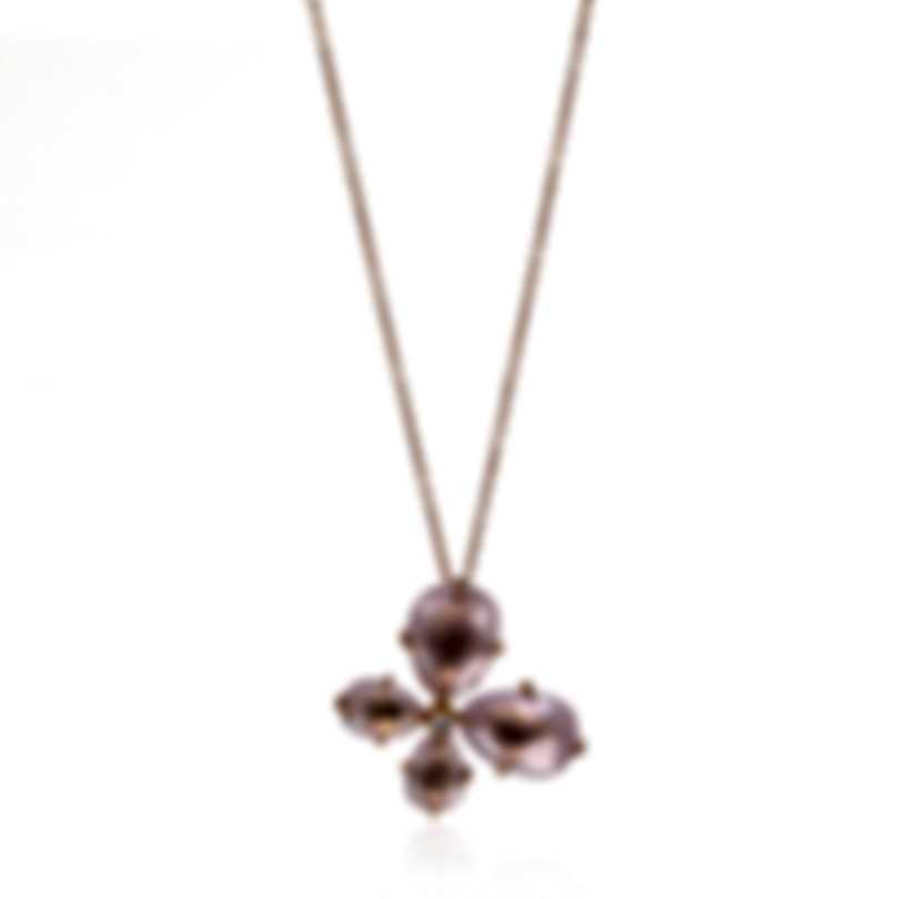 Mimi Milano Mila 18k Rose Gold Diamond 0.04ct And Pink Quartz Necklace P577R8QB