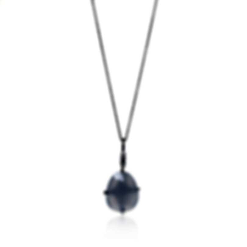 Mimi Milano Mila 18k White Gold Diamond 0.04ct And Chalcedony Necklace P576B8DB