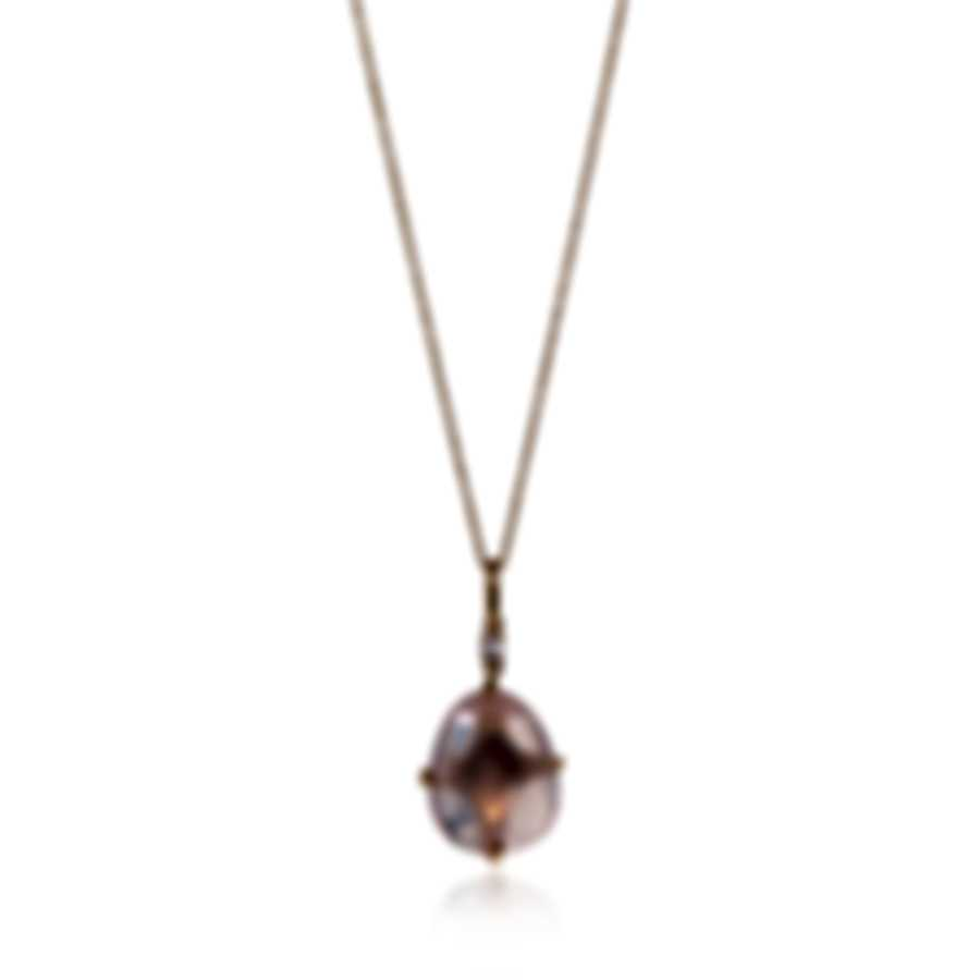 Mimi Milano Mila 18k Rose Gold Diamond 0.04ct And Pink Quartz Necklace P576R8QB