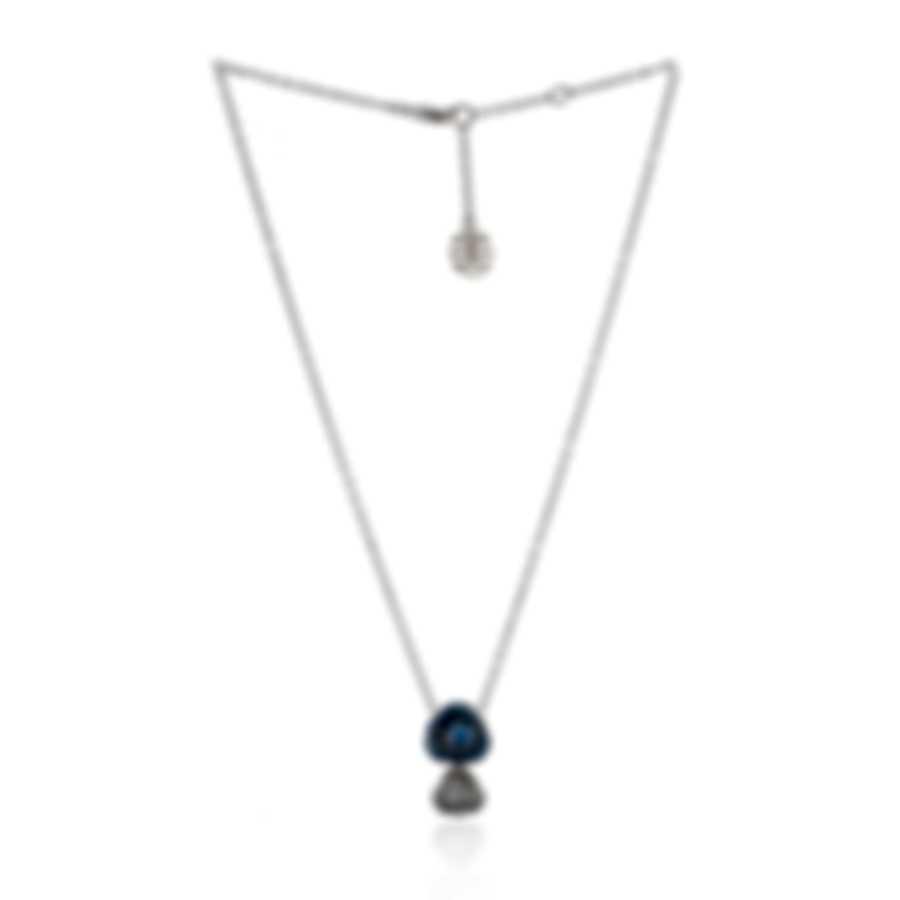 Mimi Milano Rose 18k White Gold Diamond 0.19ct And Sapphire Necklace P505B8ZB