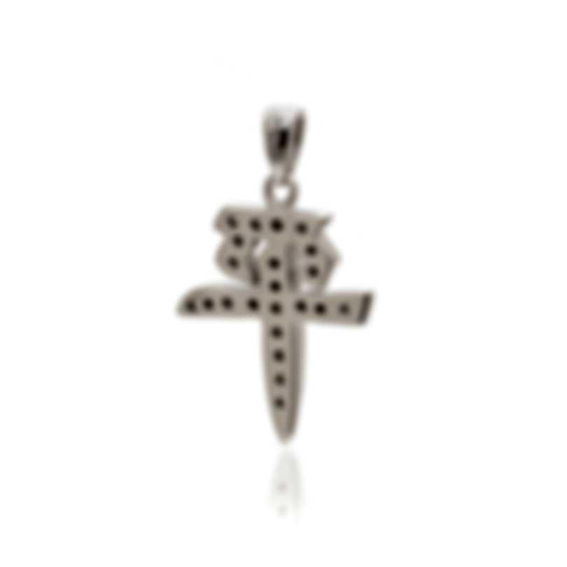 "Mimi Milano Ideogrammi ""Peace"" 18k White Gold Diamond 0.19ct Pendant PD50BZZ"