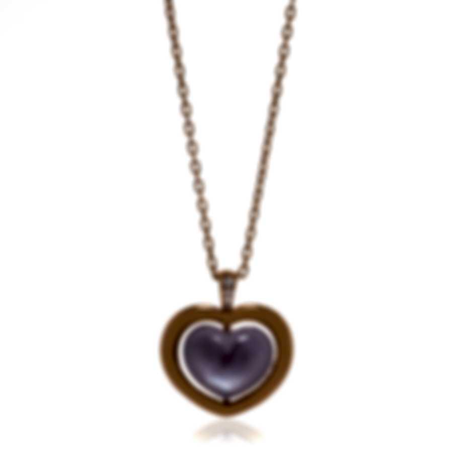 Mimi Milano Giulietta E Romeo Gold Diamond .02ct Amethyst Necklace PLM308R8AB