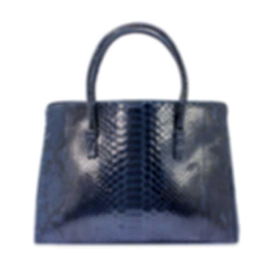 Nancy Gonzalez Resort 2020 Navy Python Handbag CR145012-PY748