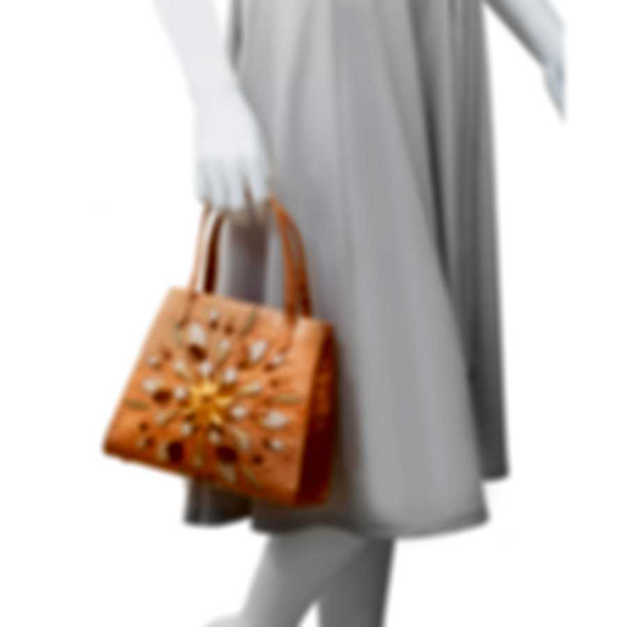 Nancy Gonzalez Gold & Brown Snakeskin & Suede Handbag CR195917-01-AN9
