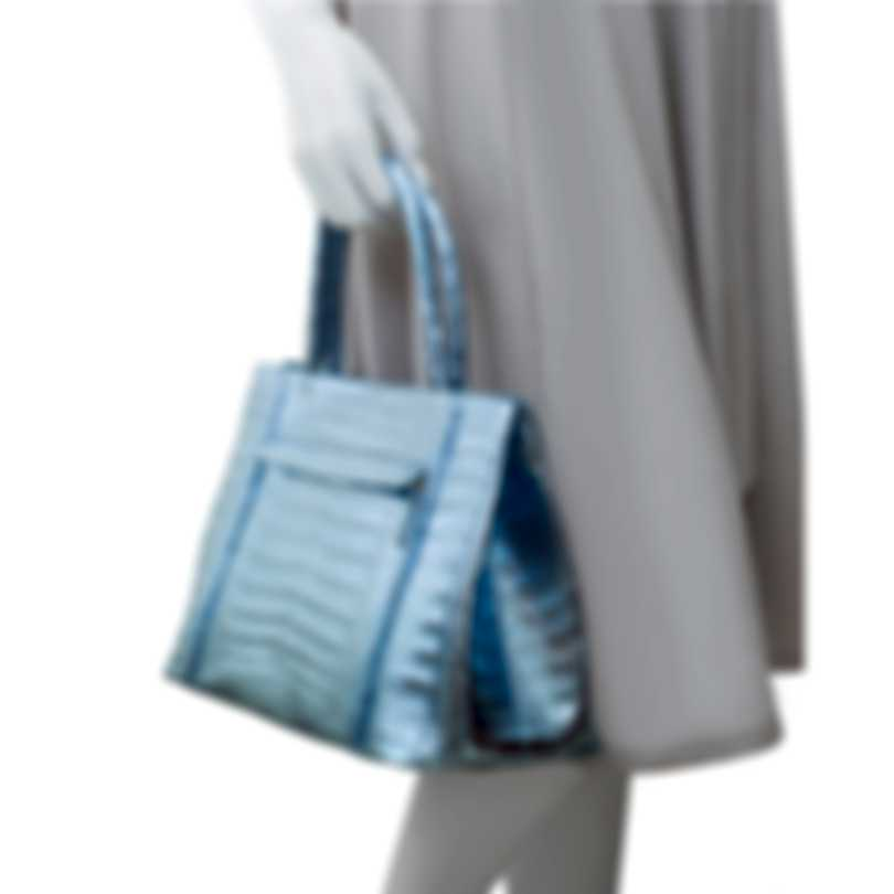 Nancy Gonzalez Blue Metallic & Silver Snakeskin & Suede Handbag CS114029SF-01