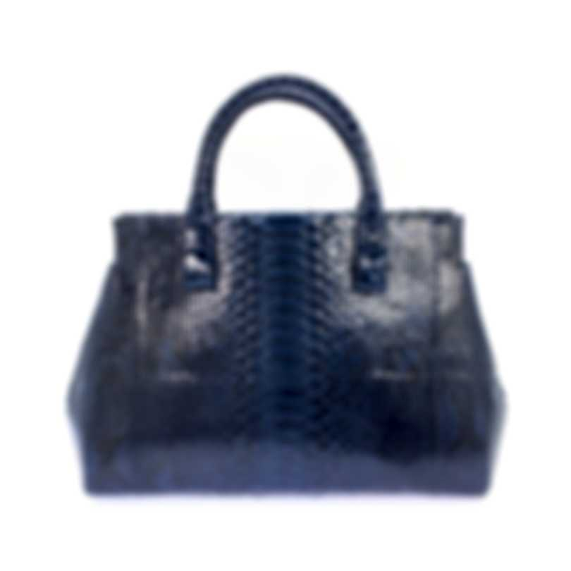 Nancy Gonzalez Resort 2020 Navy Python Handbag CS155275-PY748