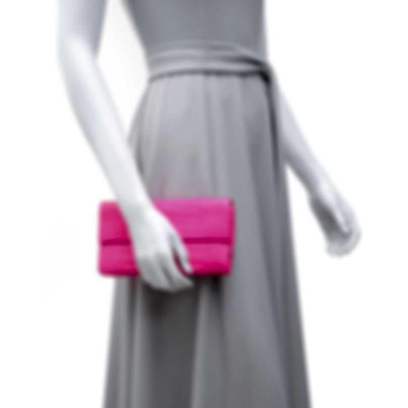 Nancy Gonzalez Spring 2020 Bright Pink Crocodile & Suede Gotham Clutch CW934700