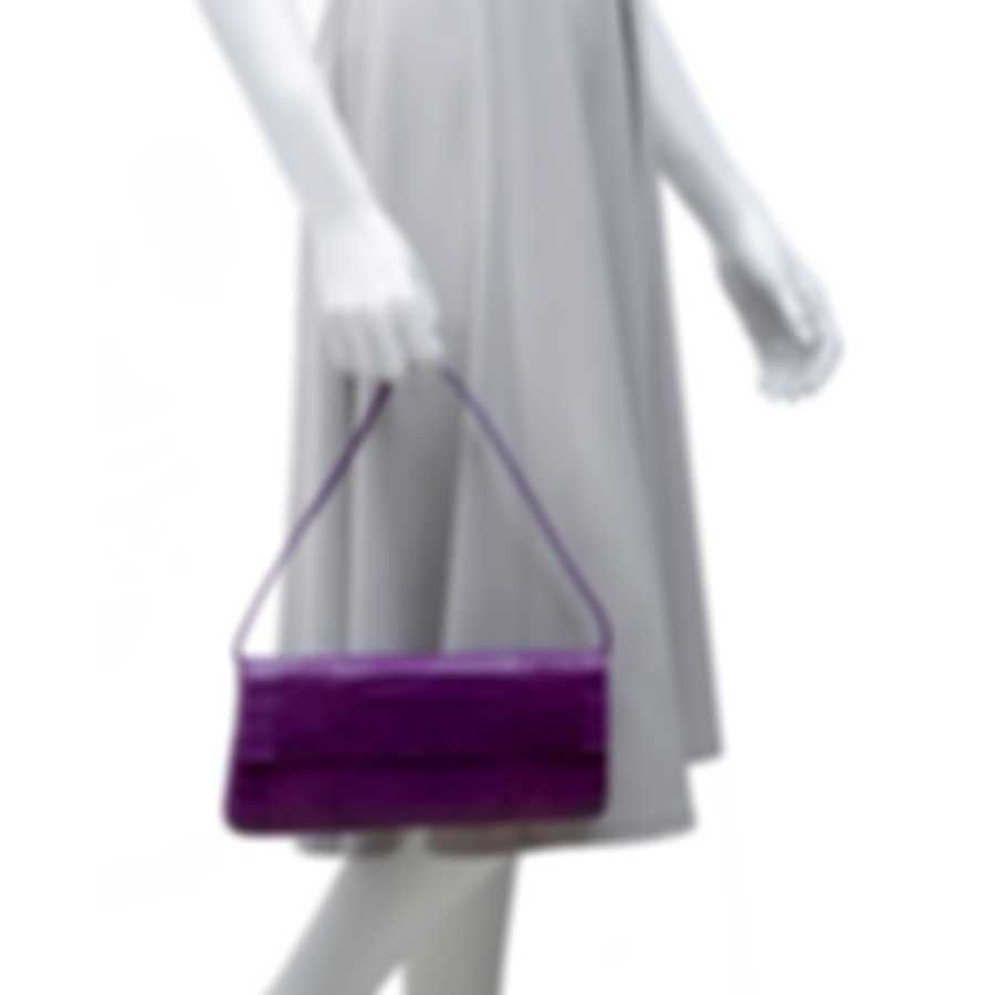 Nancy Gonzalez Spring 2020 Warm Purple Crocodile & Suede Gotham Clutch CW93479NA