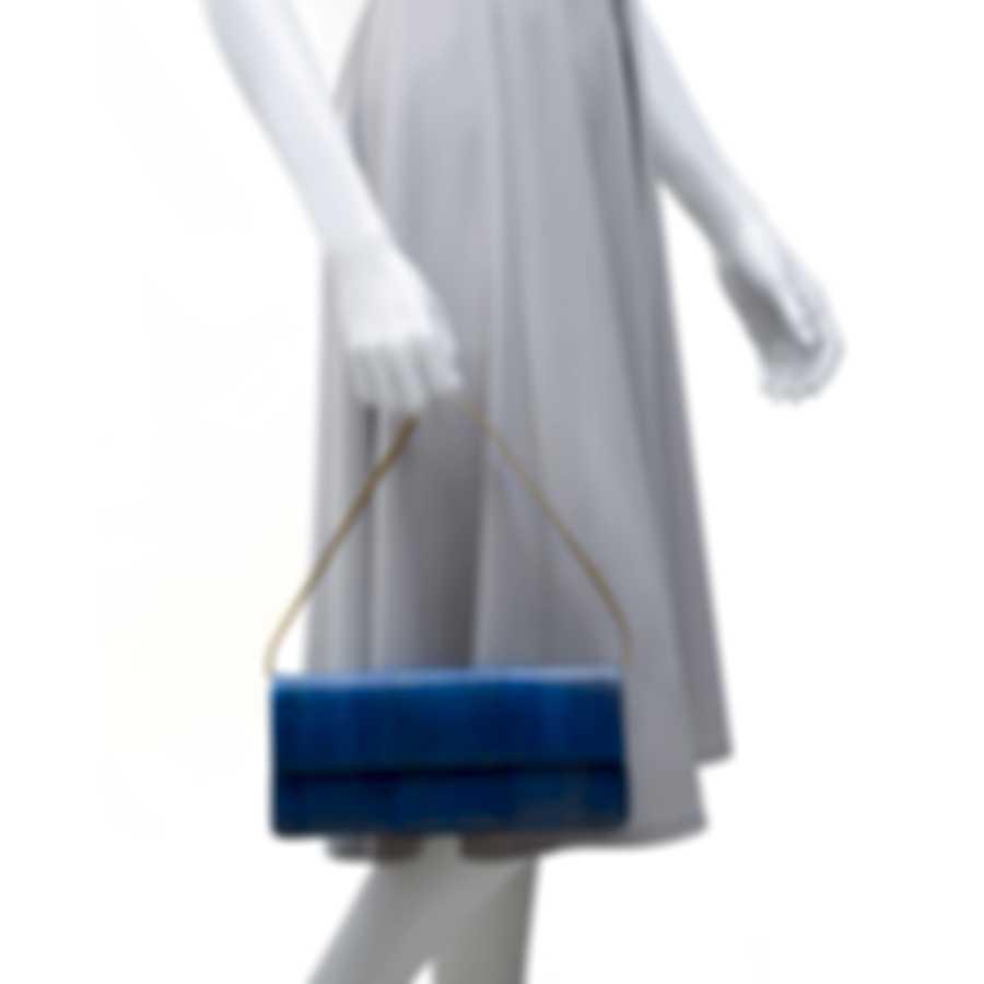 Nancy Gonzalez Spring 2020 Blue Elpahe & Suede Gotham Clutch CW93479NA-92
