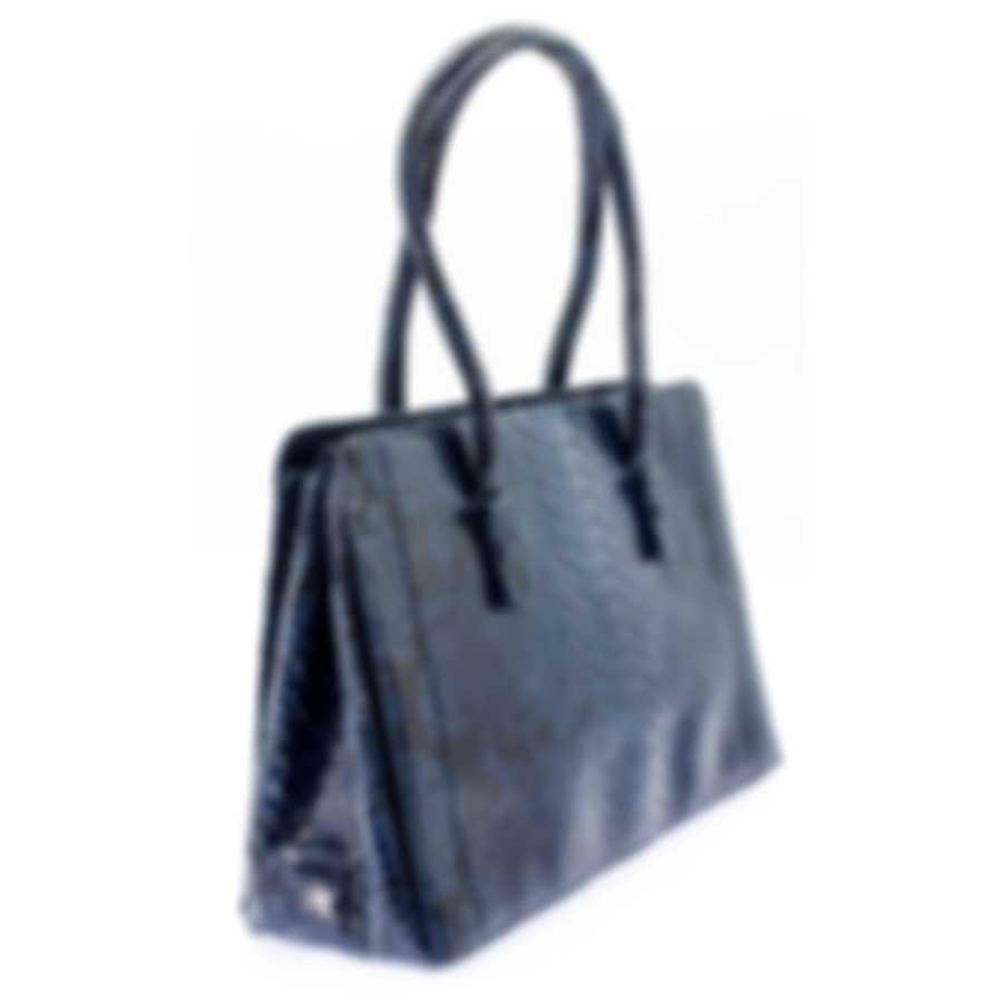 Nancy Gonzalez Resort 2020 Navy Python Handbag CW145162-PY748