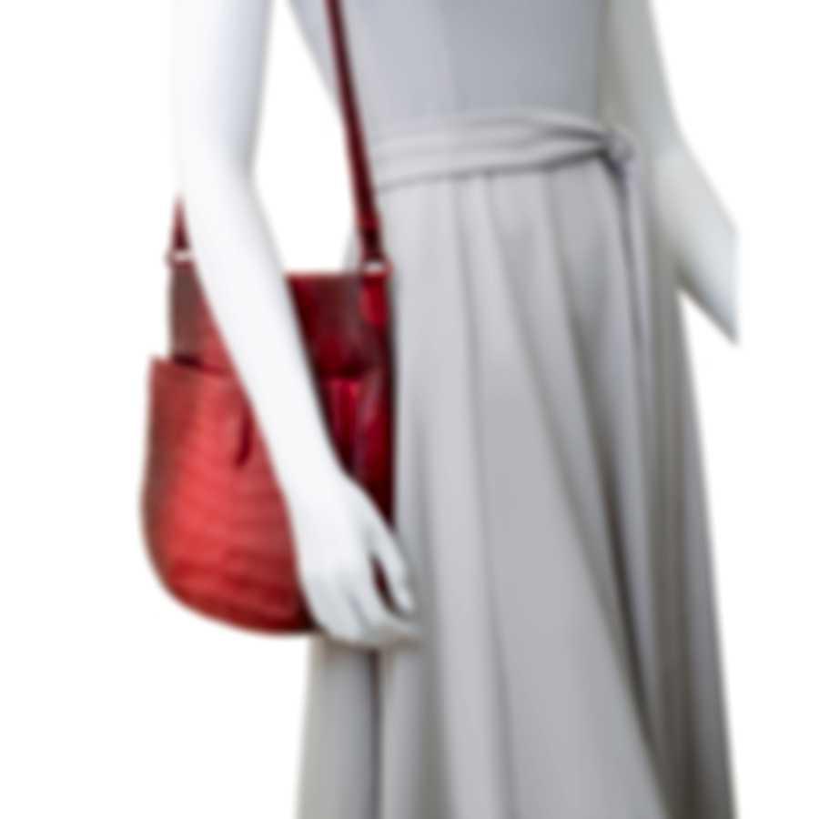 Nancy Gonzalez Red Degrade Snakeskin & Suede Handbag CW185842-01-HH9