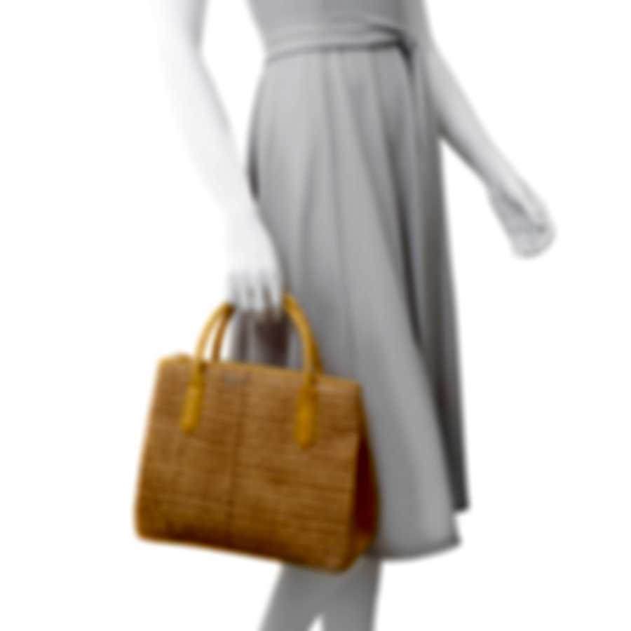 Nancy Gonzalez Nix Natural Cane, Yellow & Tan Crocodile Handbag CW185892-158-DB3