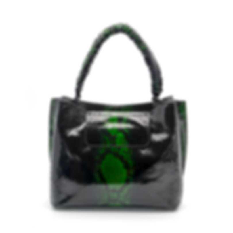 Nancy Gonzalez Jessi Green & Black Python & Suede Handbag CW206180-02-PY805