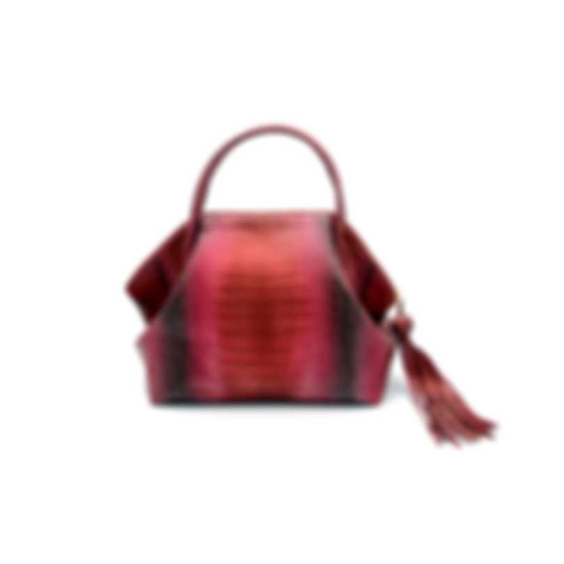 Nancy Gonzalez Red Frosted Degrade & Cream Python & Suede Handbag CW206190-01