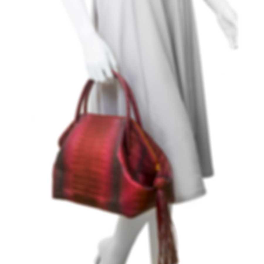 Nancy Gonzalez Red Frosted Degrade & Cream Python & Suede Handbag CW206190-01