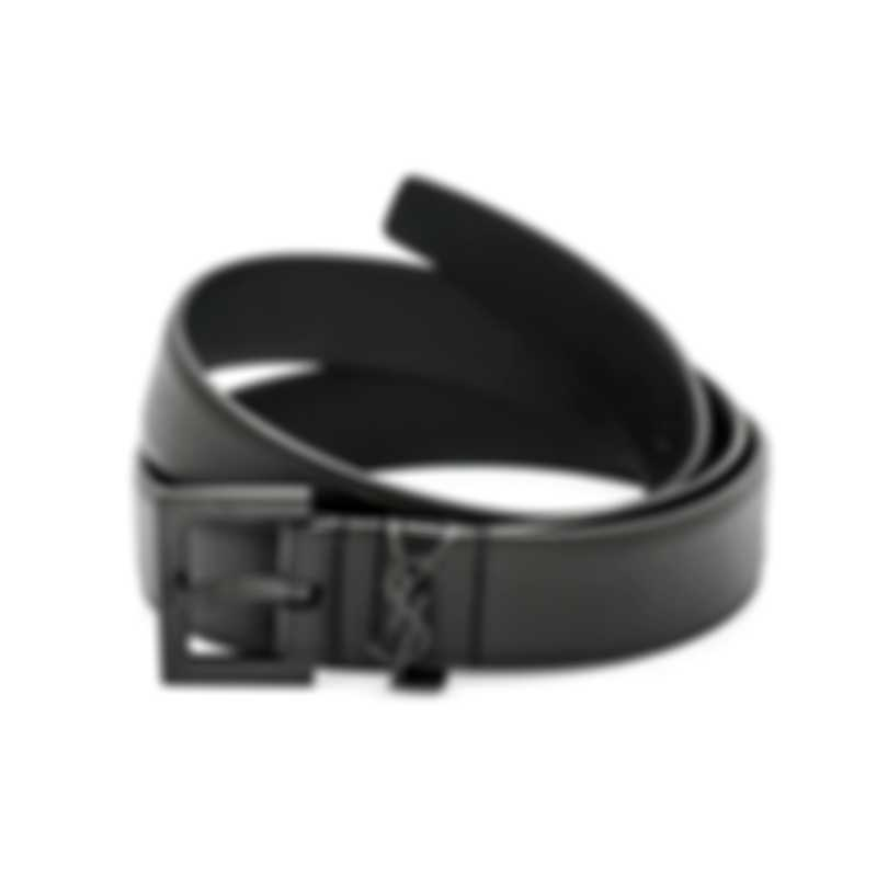 Saint Laurent Men's Black Leather Belt 554773-BOO0U-1000-95