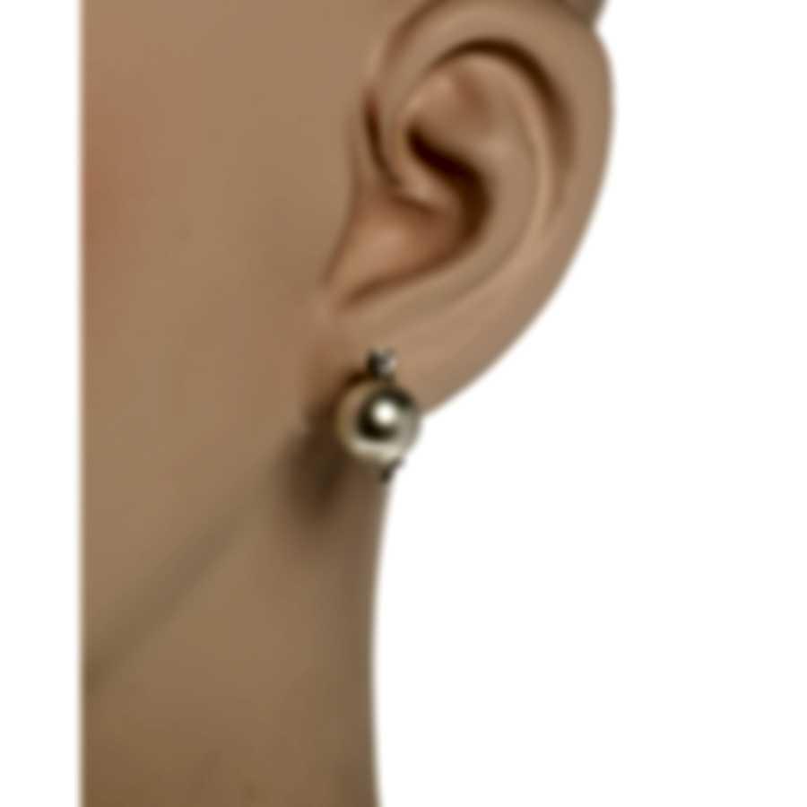 Salvini Parures Perle 18k White Gold Diamond 0.16ct And Pearl Earrings 20001708