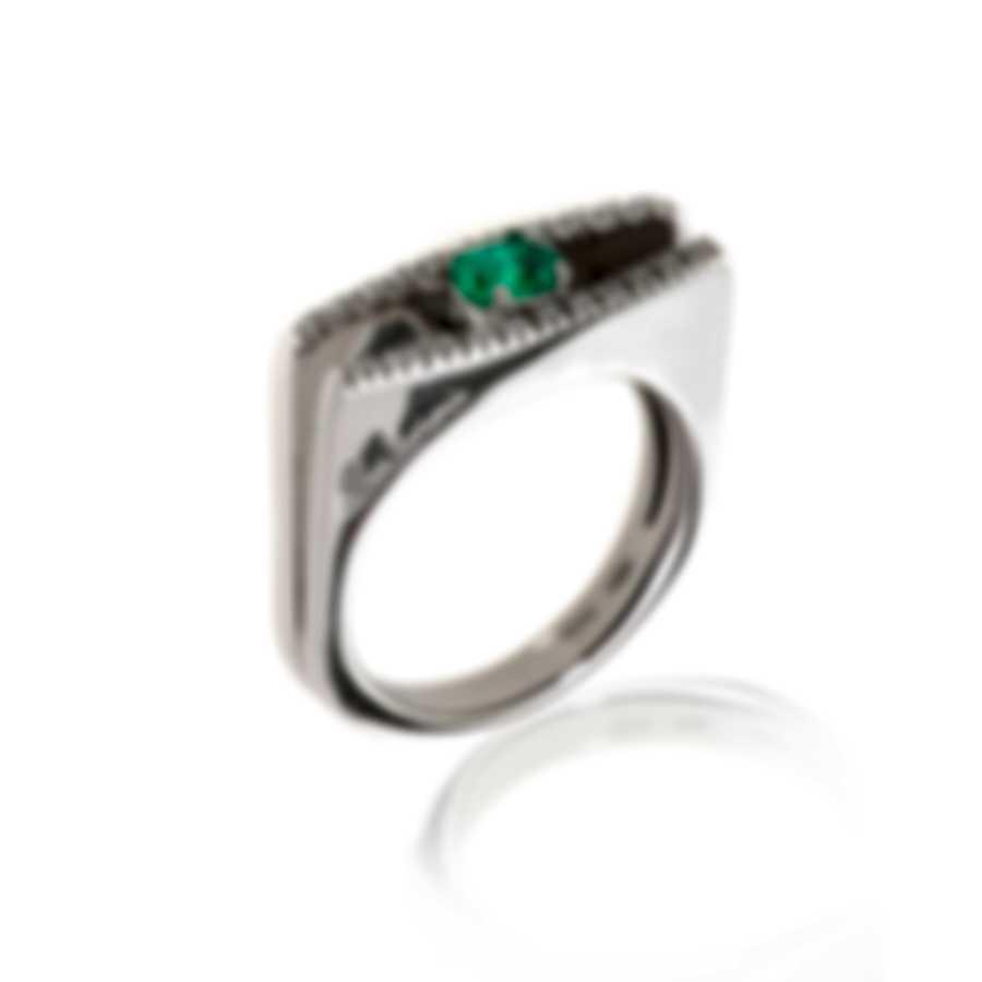 Salvini By Damiani Dali' 18k White Gold Diamond 0.15ct And Emerald Ring Sz 7.5 20007320